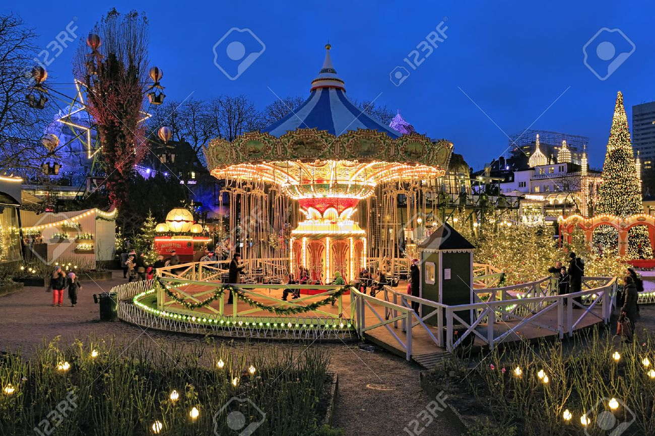 COPENHAGEN, DENMARK - DECEMBER 14, 2015: The Carousel And Christmas ...