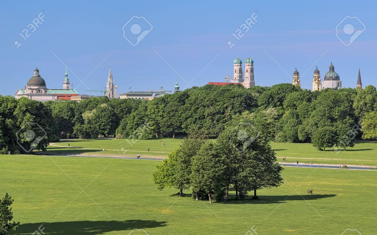 Munich Skyline View From Monopteros Temple In Englischer Garten