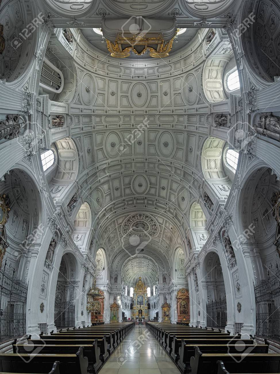 MUNICH, GERMANY - MAY 30, 2017: Vertical panorama of interior of St. Michael's Church. The church was built by William V, Duke of Bavaria in 1583-1597.