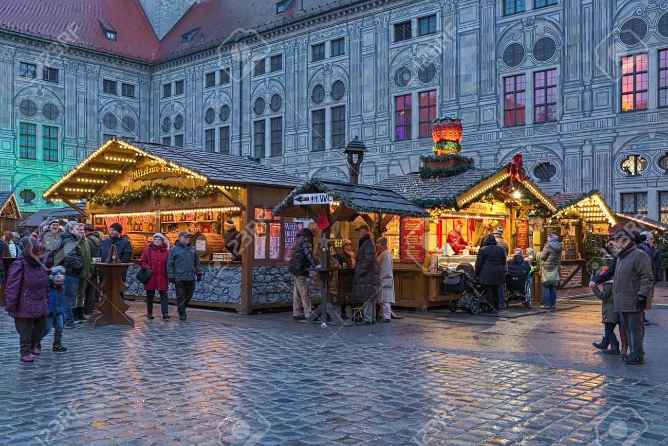 Christmas Village In Germany.Munich Germany December 12 2017 Christmas Village In The
