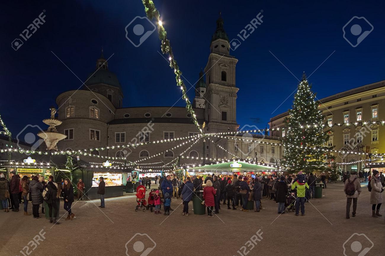 Salzburg Christmas Market.Salzburg Austria December 11 2017 Christmas Market At Residenzplatz
