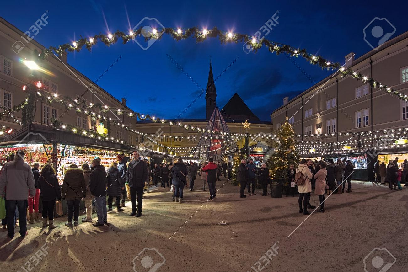 Salzburg Christmas Market.Salzburg Austria December 11 2017 Christmas Market At The