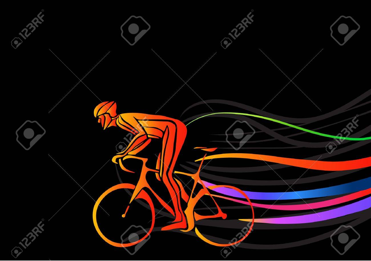 Professional cyclist involved in a bike race. Vector artwork in the style of paint strokes. Vector illustration - 47391050