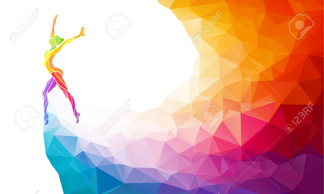 Creative silhouette of gymnastic girl. Art gymnastics, colorful illustration with background or template in trendy abstract colorful polygon style and rainbow back - 47558901