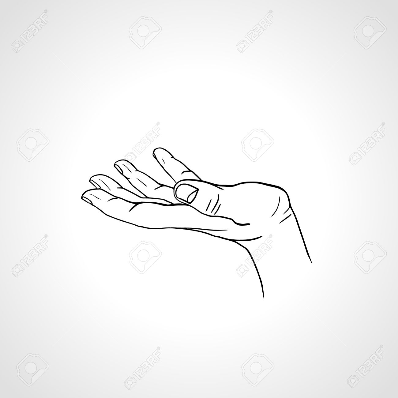 Open Empty Line Art Drawing Hand Isolated On White Background ...