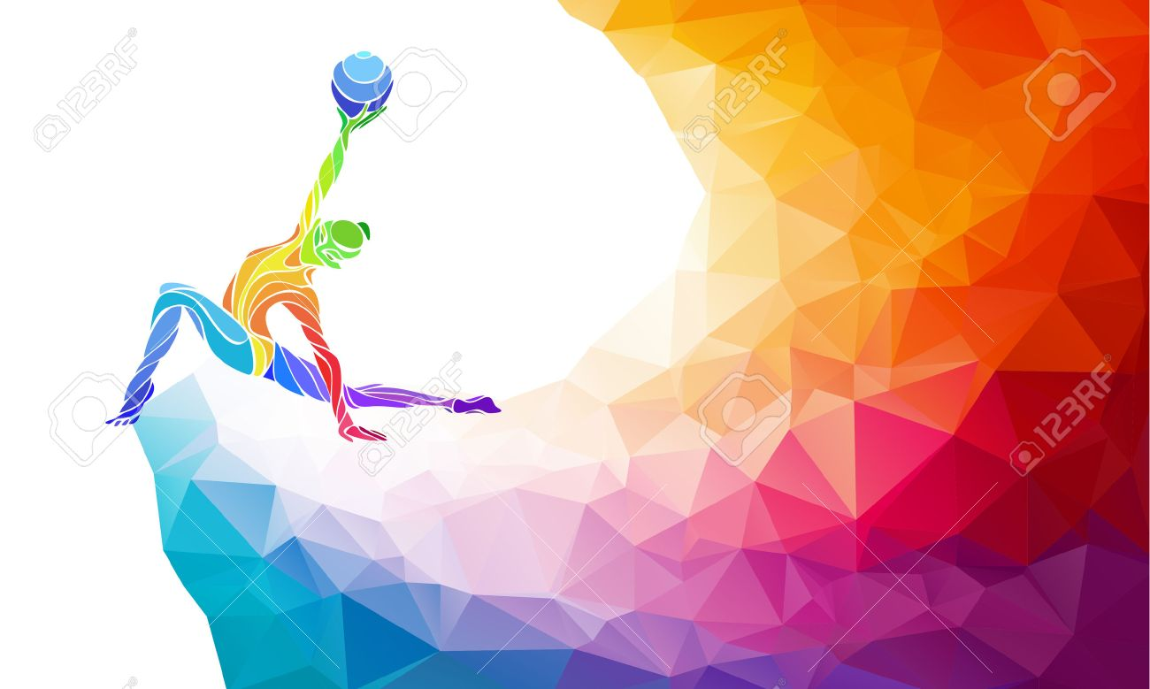 Creative silhouette of gymnastic girl. Art gymnastics with ball, colorful illustration with background or template in trendy abstract colorful polygon style and rainbow back - 47558915
