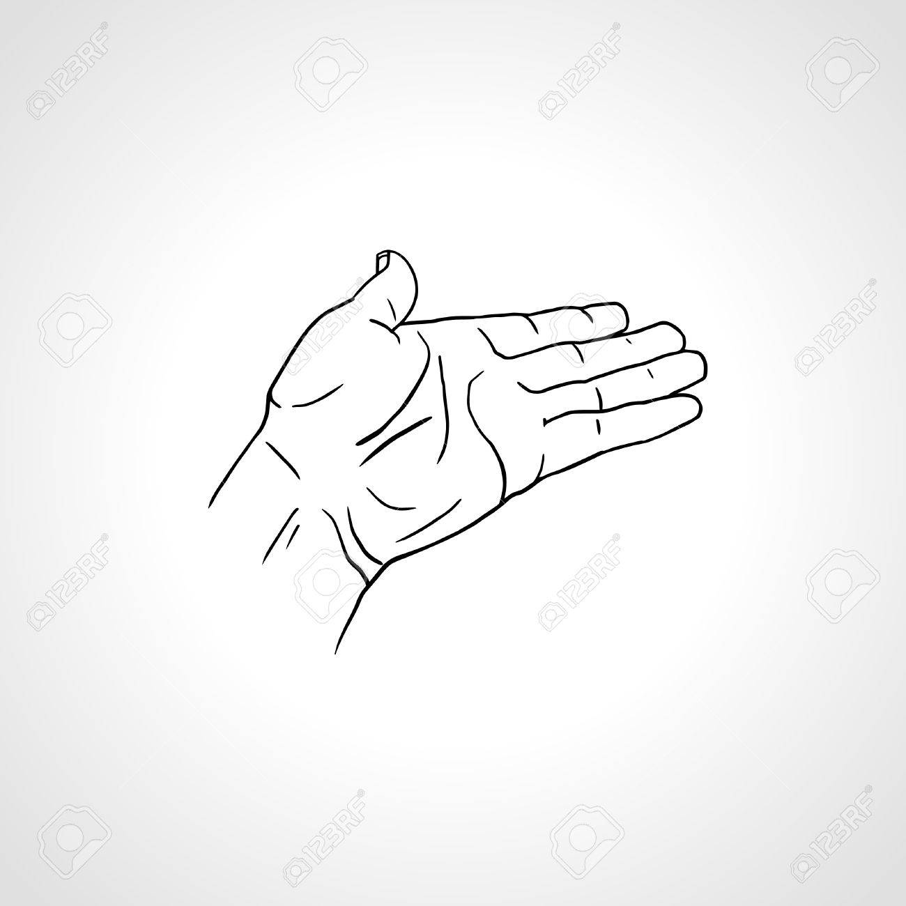 open empty line art drawing hand isolated on white background close