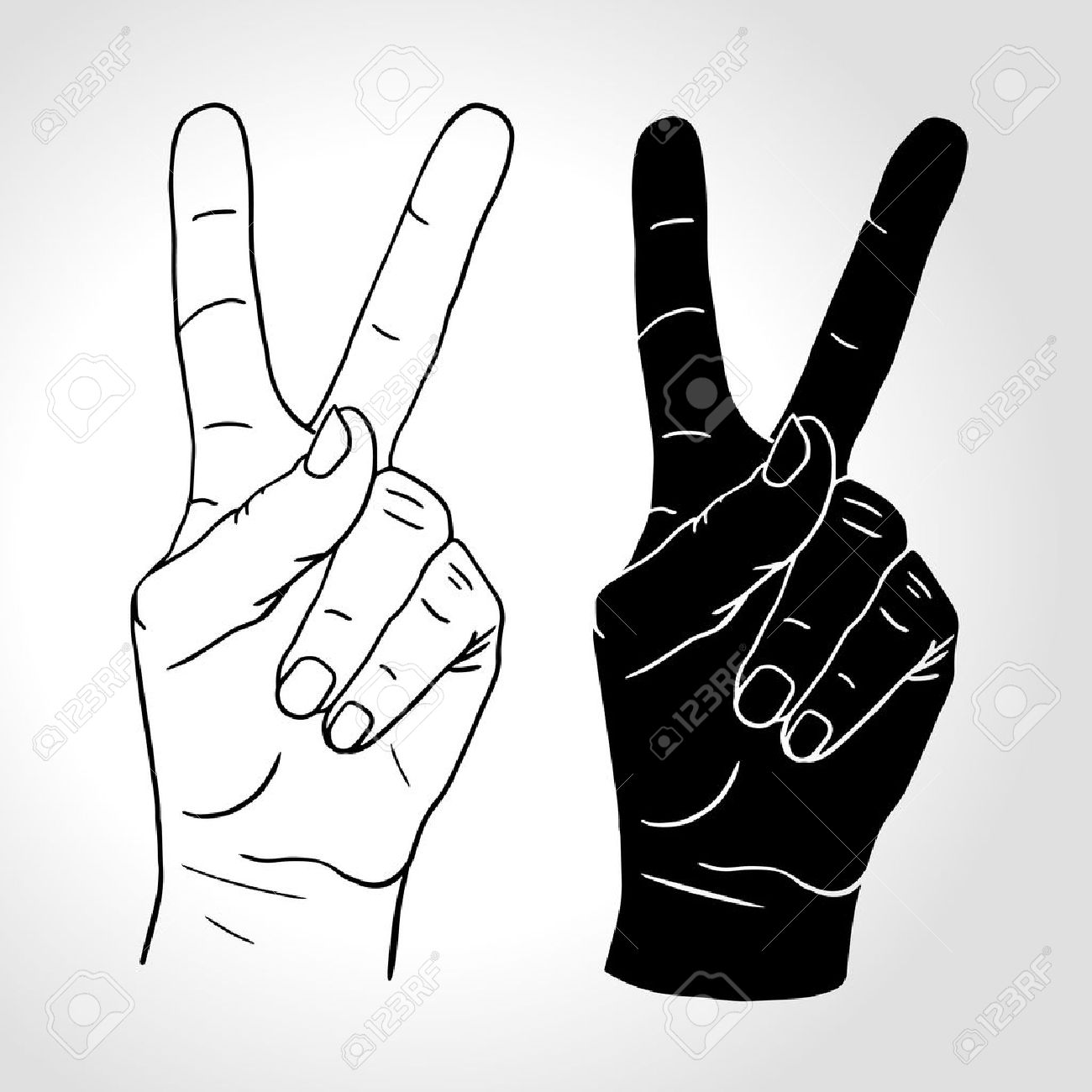 illustration: Hand with two fingers up in the peace or victory symbol. Also the sign for the letter V in sign language. Isolated on white. - 47558883