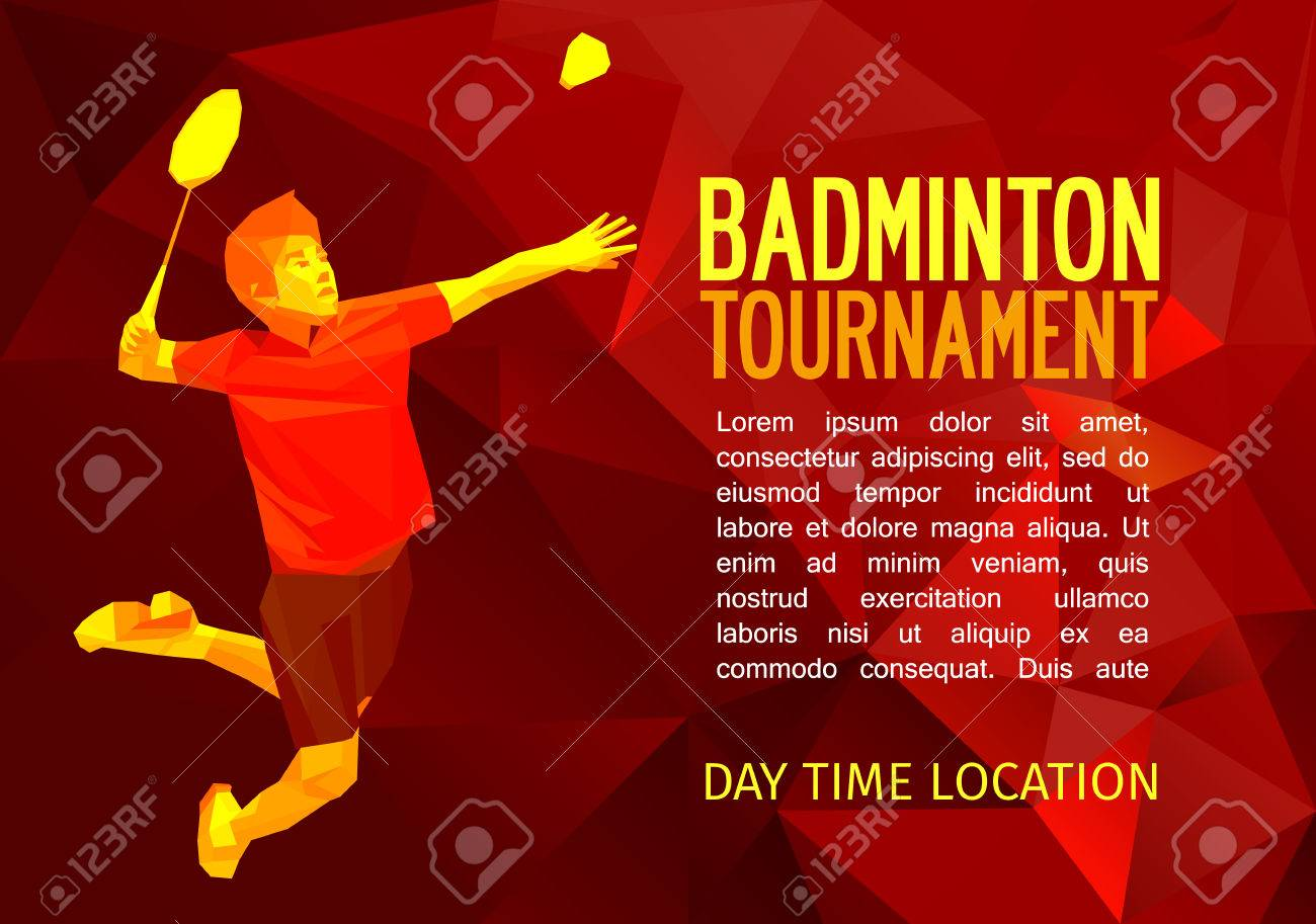 Unusual colorful triangle shape: Geometric polygonal professional badminton player, pattern design, illustration with empty space for poster, banner, web. Shades of red background. - 47558895