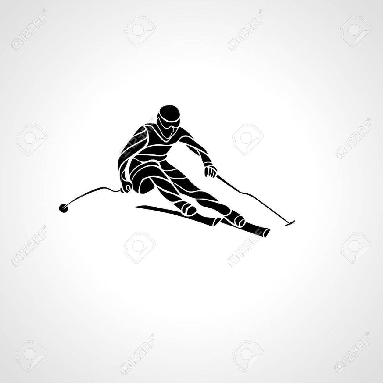 Ski downhill. Creative silhouette of the skier. Giant Slalom Ski Racer. Vector illustration - 48354689