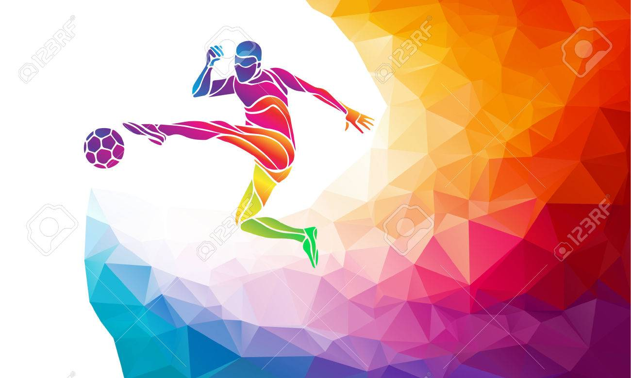 Creative soccer player. Football player kicks the ball, colorful vector illustration with background or banner template in trendy abstract colorful polygon style and rainbow back - 48785211
