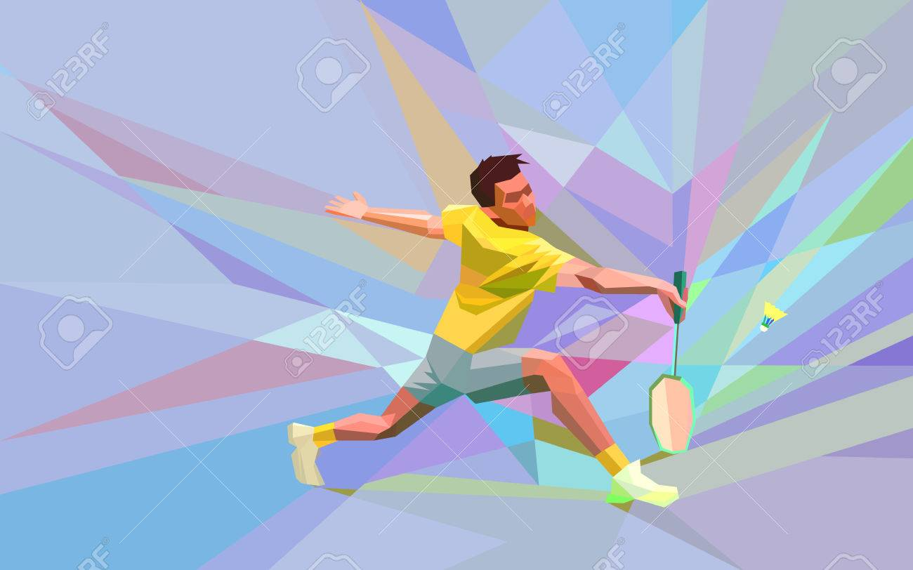 Polygonal geometric professional badminton player on colorful low poly background doing smash shot with space for flyer, poster, web, leaflet, magazine. Vector illustration - 48646737
