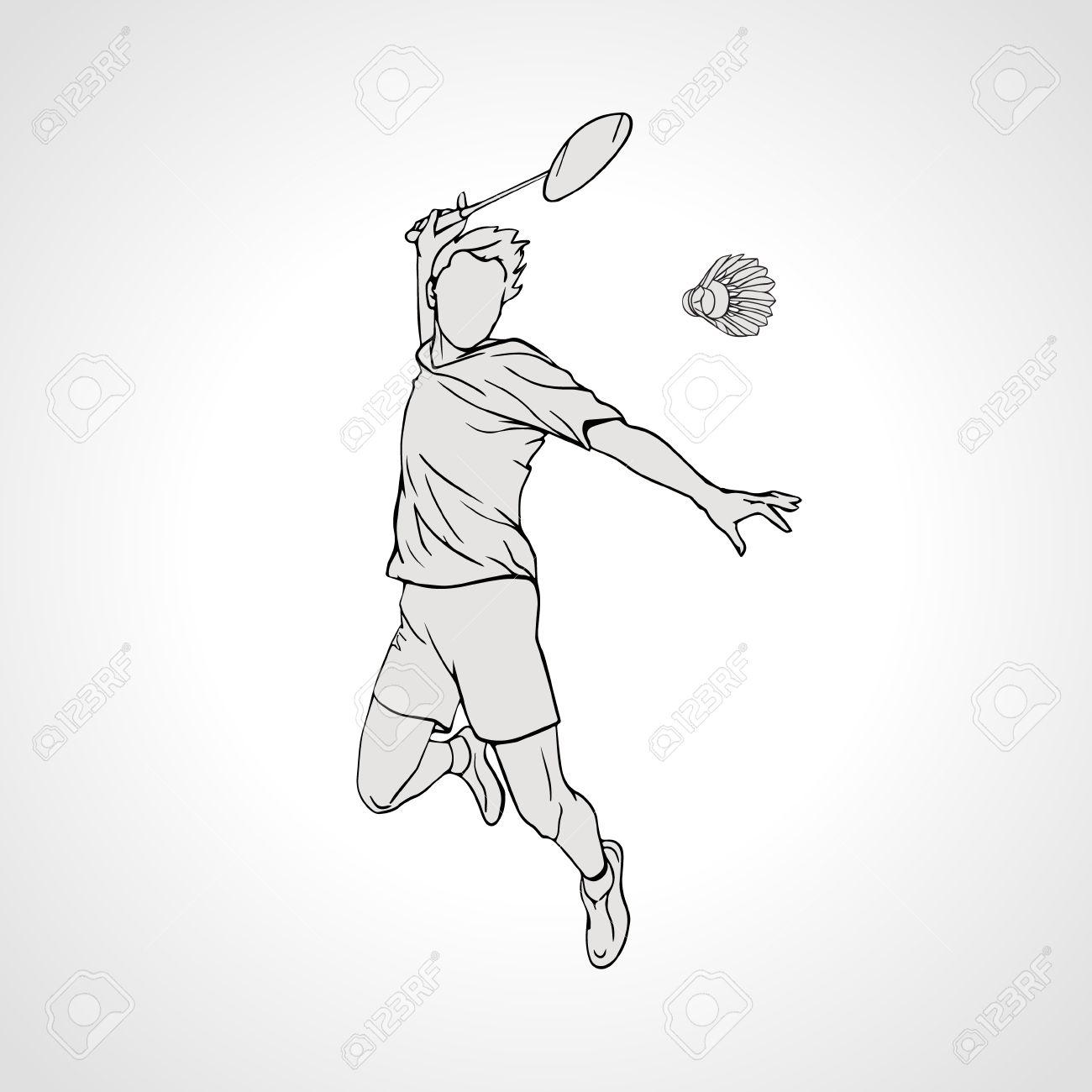 Vector illustration of Badminton player. Black and white badminton player during smash shot. Hand drawn. - 49137422