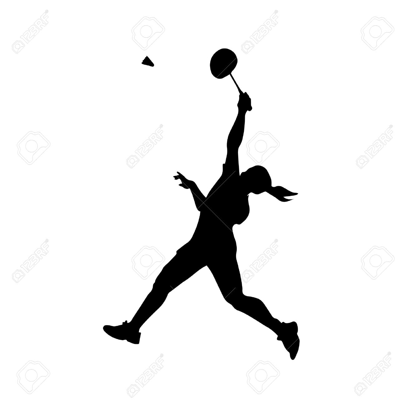 Silhouette of professional female badminton player. Vector illustration - 48879559