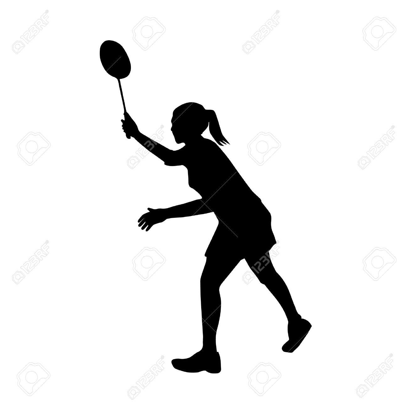 プロの女性バドミントン選手のシルエット ベクトル図のイラスト素材 ベクタ Image