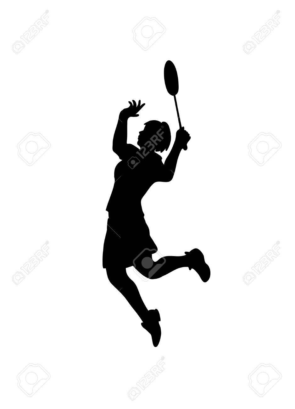 プロの女性バドミントン選手のシルエット ベクトル図のイラスト素材 ベクタ Image 4795