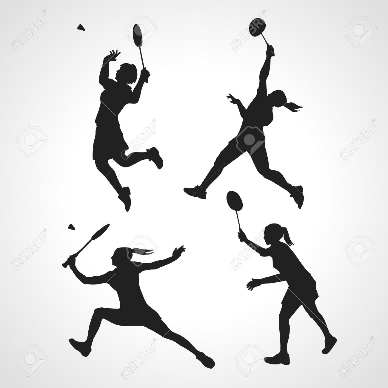 4 vector Silhouettes of female professional badminton players. Vector illustration - 49247905