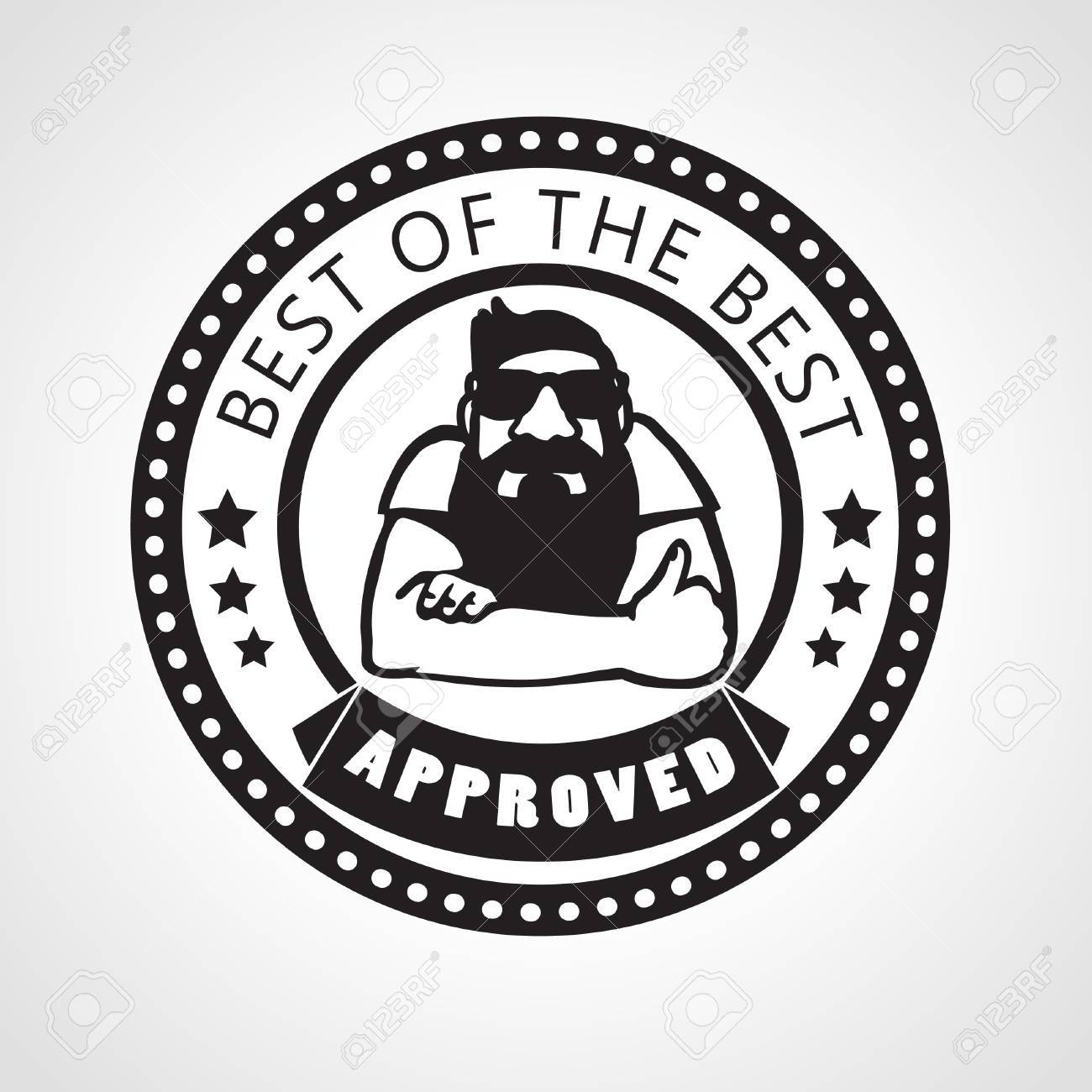 Vector vector approved stamp best of the best label with beard man approving with thumb up black and white sticker