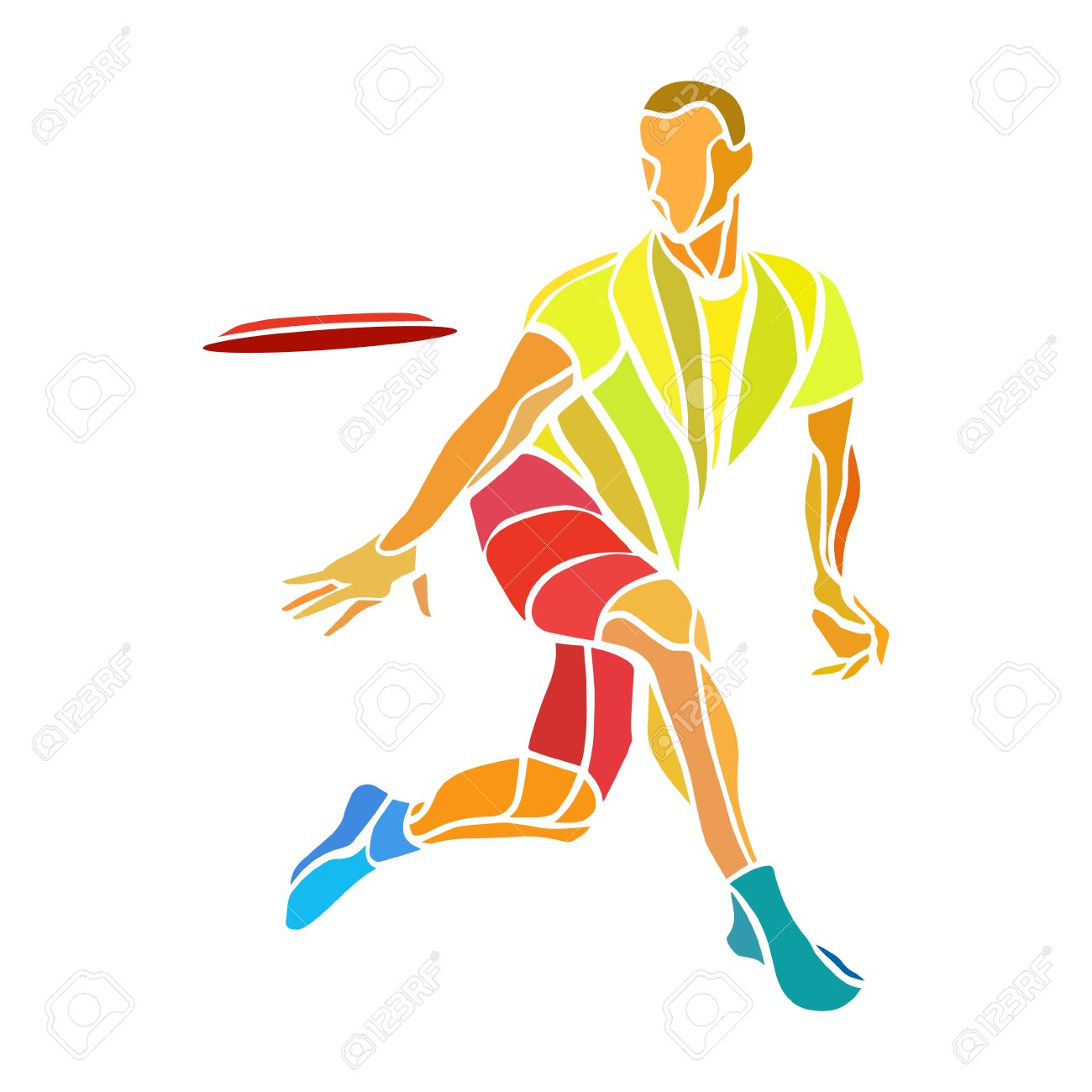 Sportsman throwing ultimate frisbee. Lineart clipart, color vector illustration - 49482565
