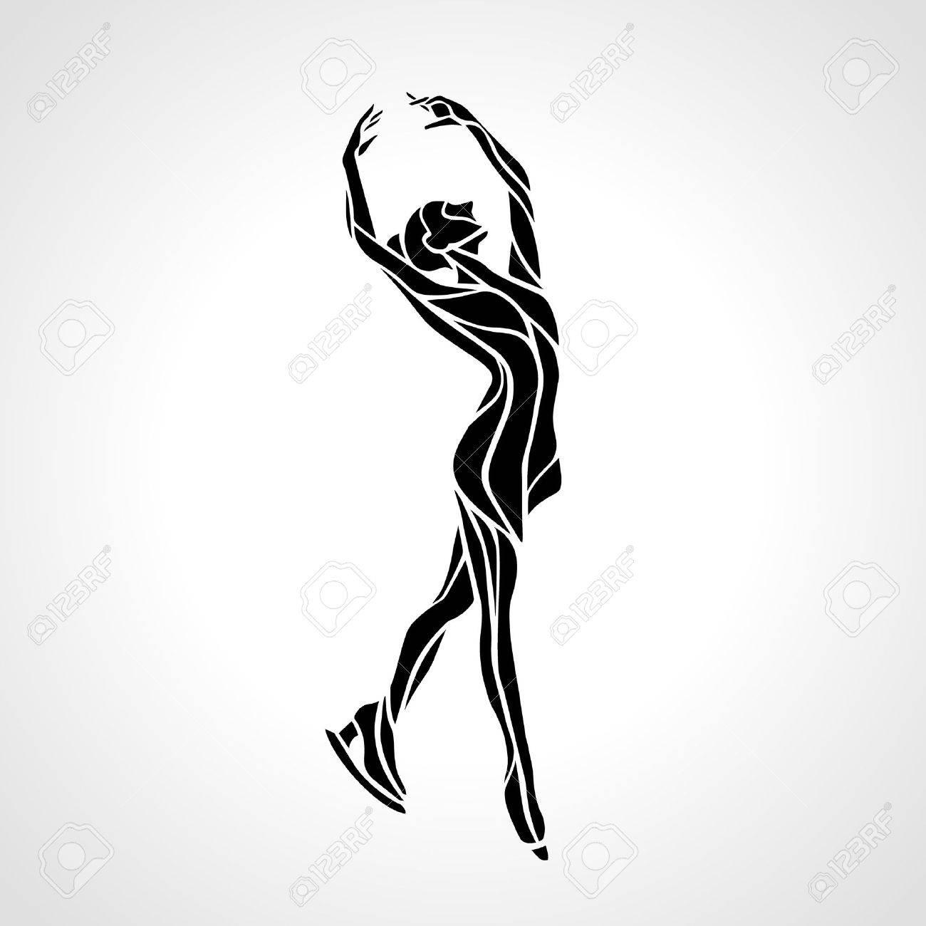 Winter sport. Ladies figure skating silhouette. Ice show. - 50093210