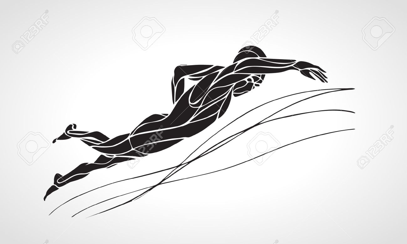 Freestyle Swimmer Black Silhouette. Sport swimming, front crawl. Vector Professional Swimming Illustration - 50093218