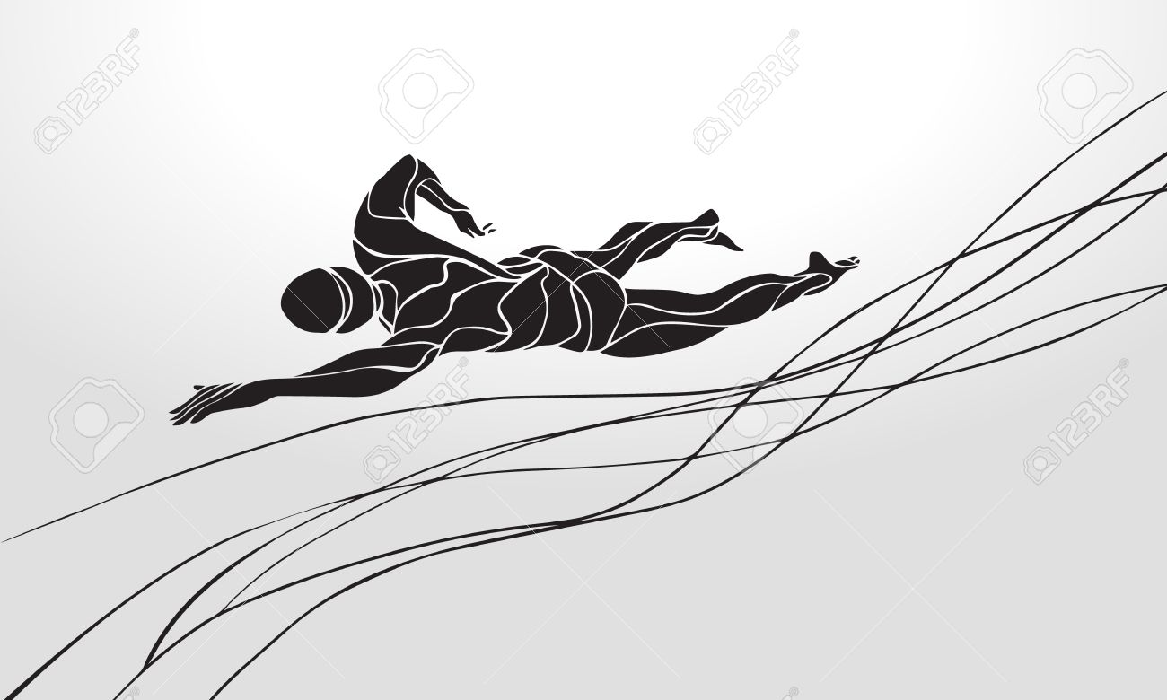 Freestyle Swimmer Black Silhouette. Sport swimming, front crawl. Vector Professional Swimming Illustration - 50093307