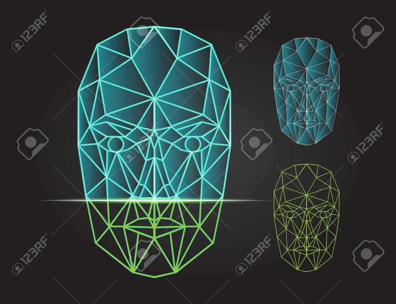 Face recognition - biometric security system. Face scanning, front view of human head. Vector illustration - 50093306