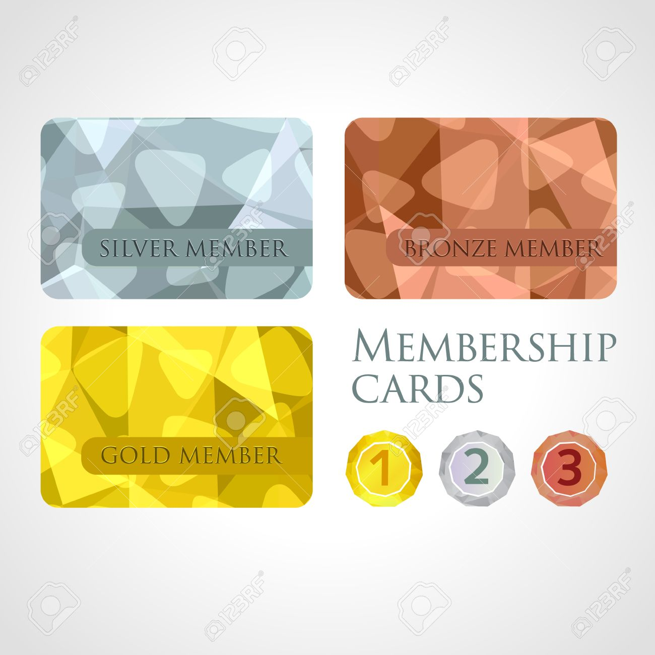 Gold Silver And Bronze Membership Cards Or Backgrounds And Medals