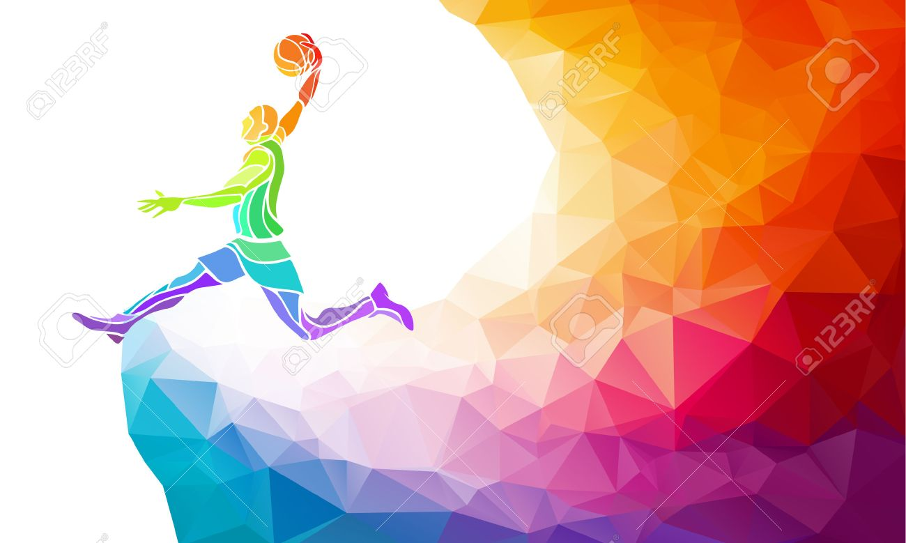Polygonal geometric professional basketball player on colorful low poly background doing jump shot with space for flyer, poster, web, leaflet, magazine. Vector illustration - 53911948