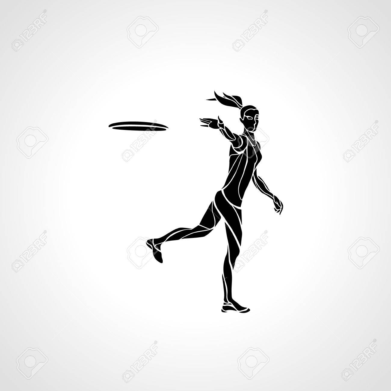 Female Player Is Throwing Flying Disc Silhouette Of Disc Golf