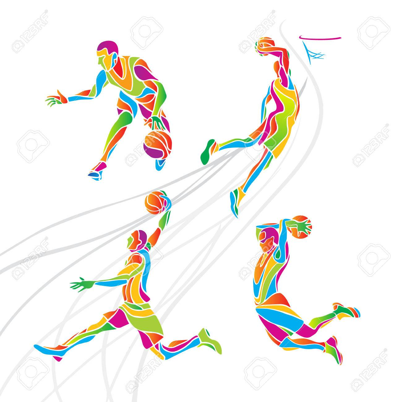 Basketball players collection . Set of 4 abstract multicolor basketball players - 53927561