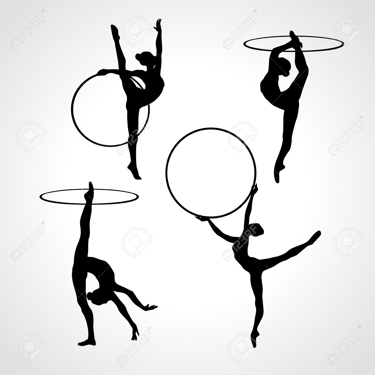 Collection 4 Creative silhouettes of gymnastic girls with hoop. Art gymnastics set, black and white illustration - 53927644