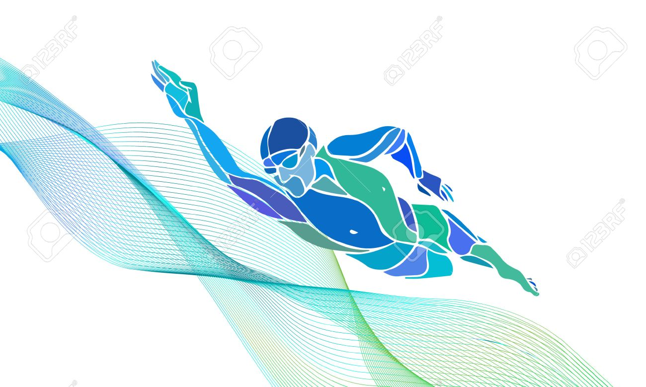 Freestyle Swimmer Black Silhouette. Sport swimming, front crawl. Vector Professional Swimming Color Illustration - 55873883