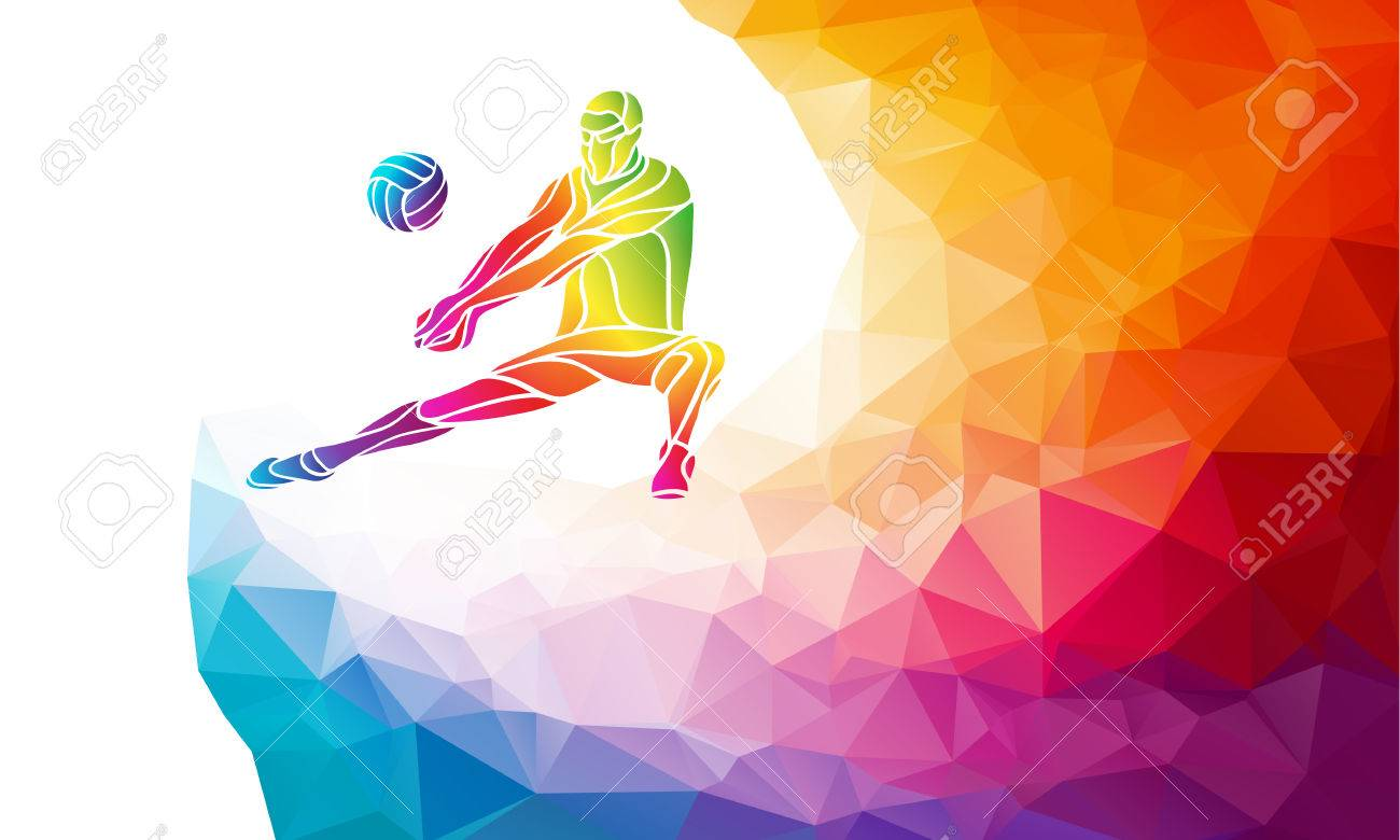 Creative silhouette of volleyball player receiving a ball. Beach sport, colorful vector illustration with background or banner template in trendy abstract colorful polygon style and rainbow back - 55873974