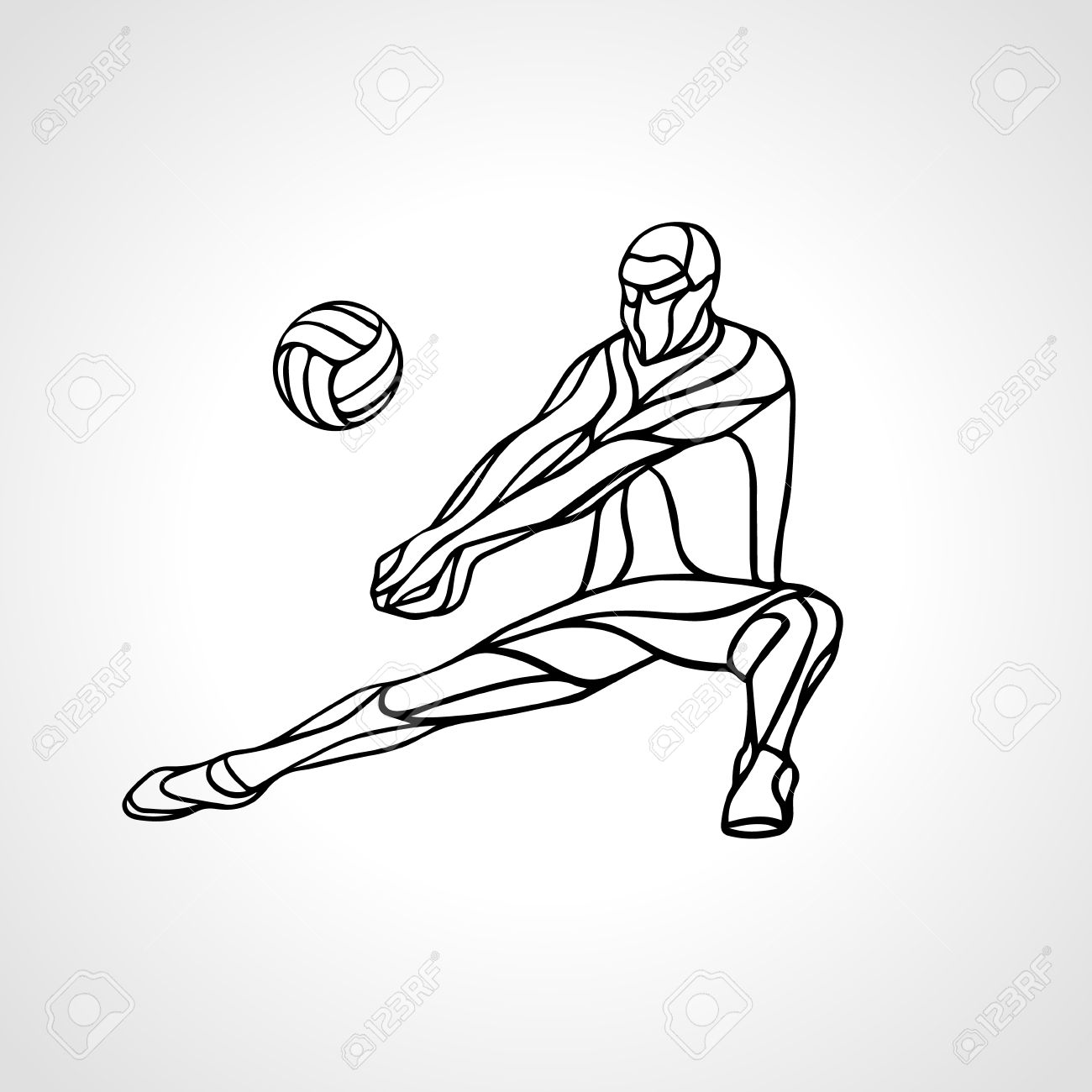 Volleyball Player Receiving Feed Outline Silhouette Of A Abstract Royalty Free Cliparts Vectors And Stock Illustration Image 55873989