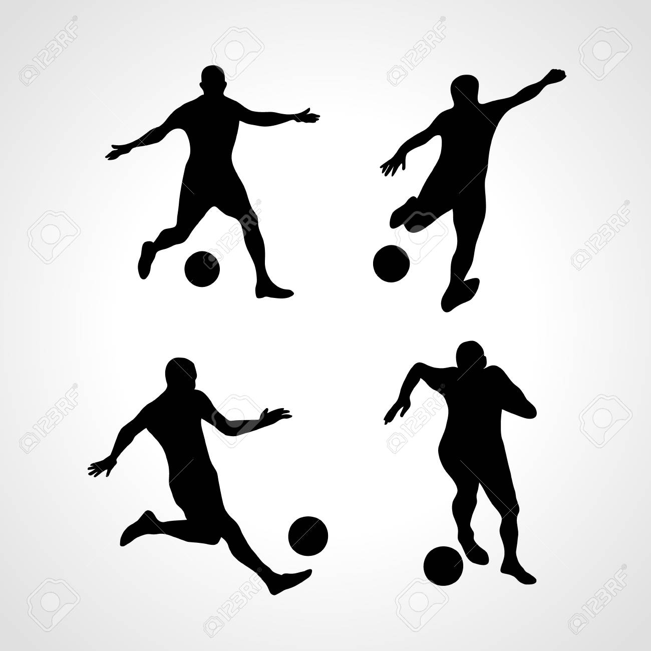 Soccer Players Silhouettes Set in various Poses with the Ball, vector isolated on white background - 56891150