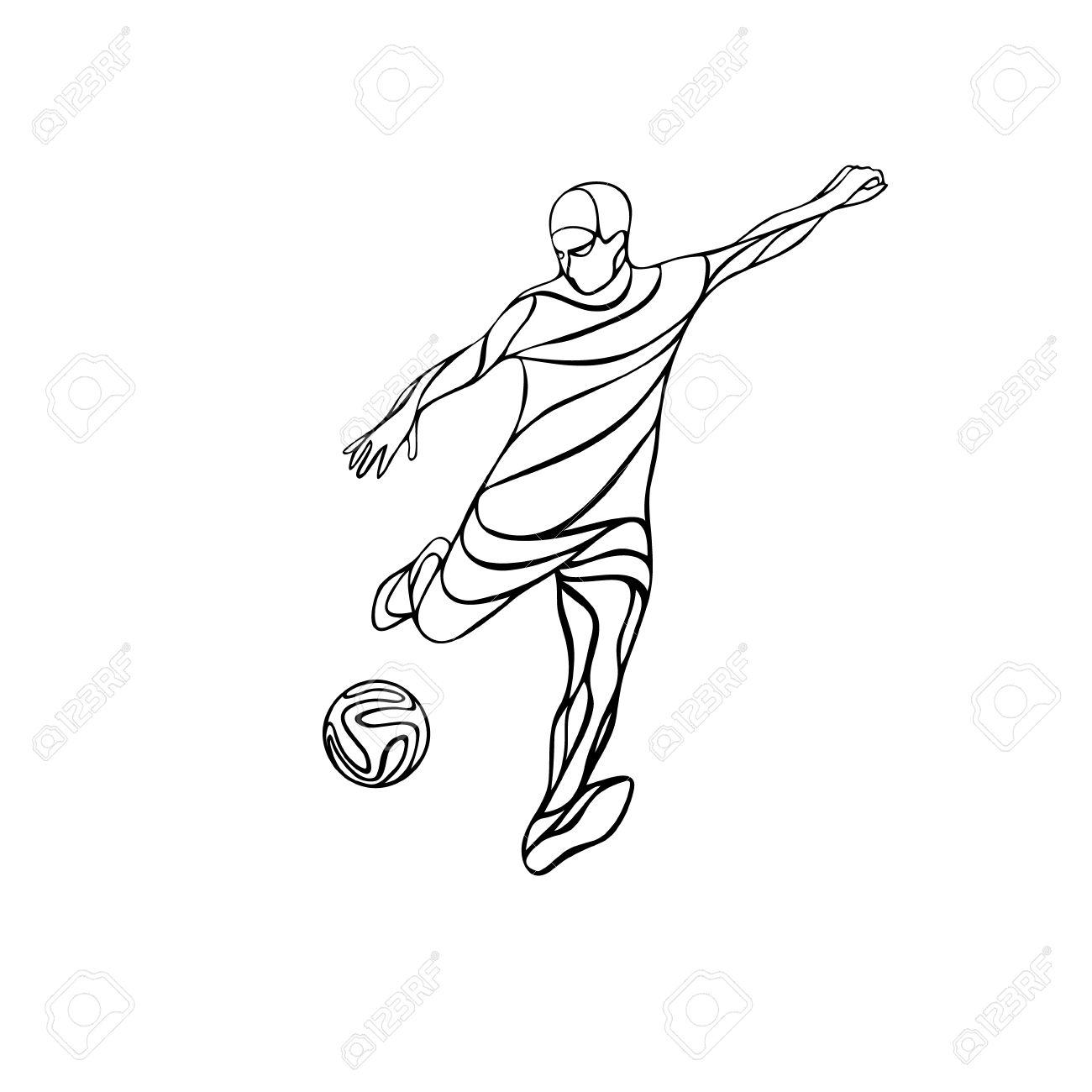 Soccer Or Football Player Kicks The Ball Abstract Line Drawing