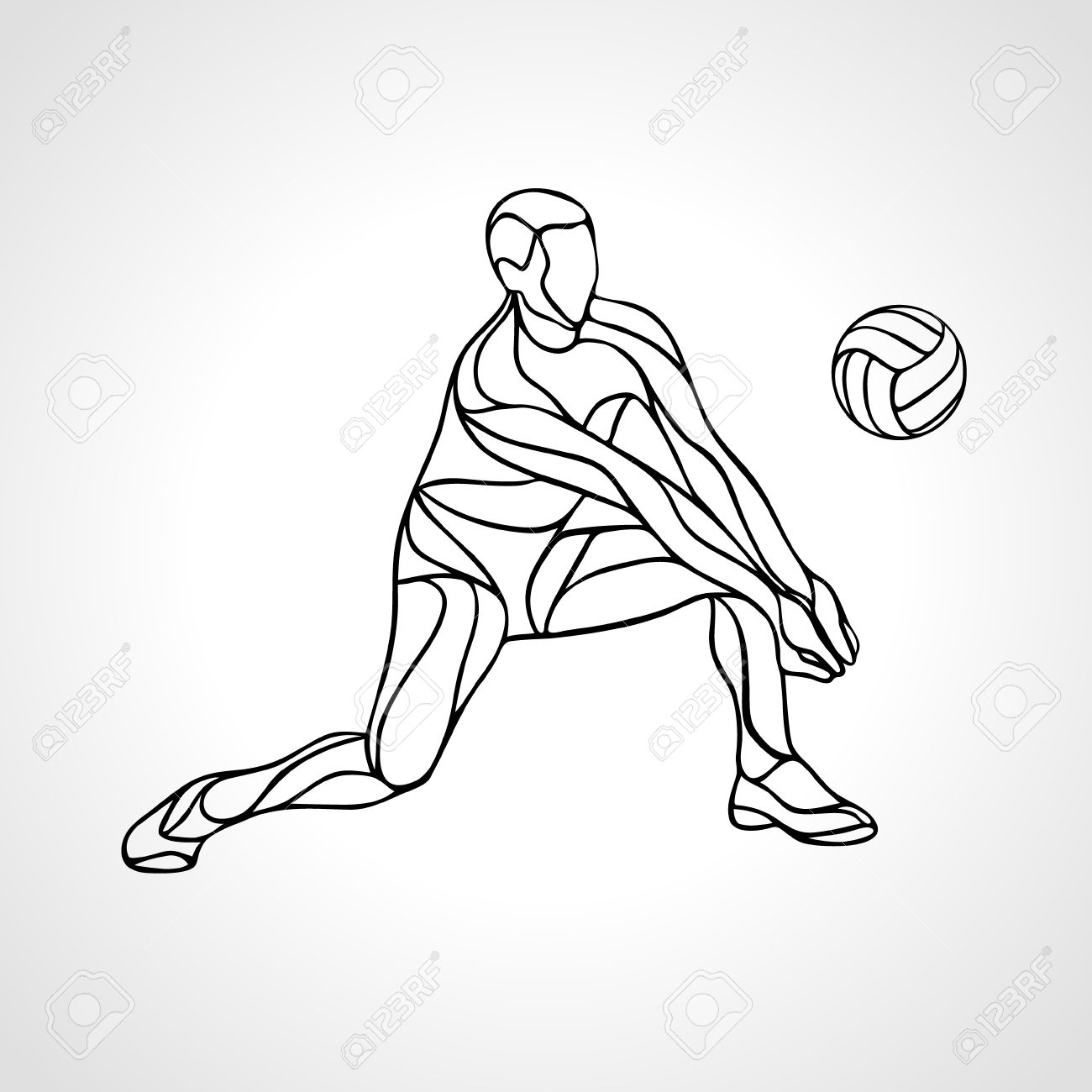 Volleyball Player Receiving Feed Outline Silhouette Of A Abstract Royalty Free Cliparts Vectors And Stock Illustration Image 60022039