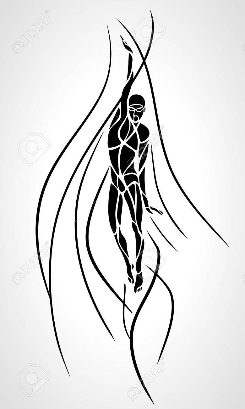 Back Crawl Backstroke Swimmer Silhouette. - 60022212