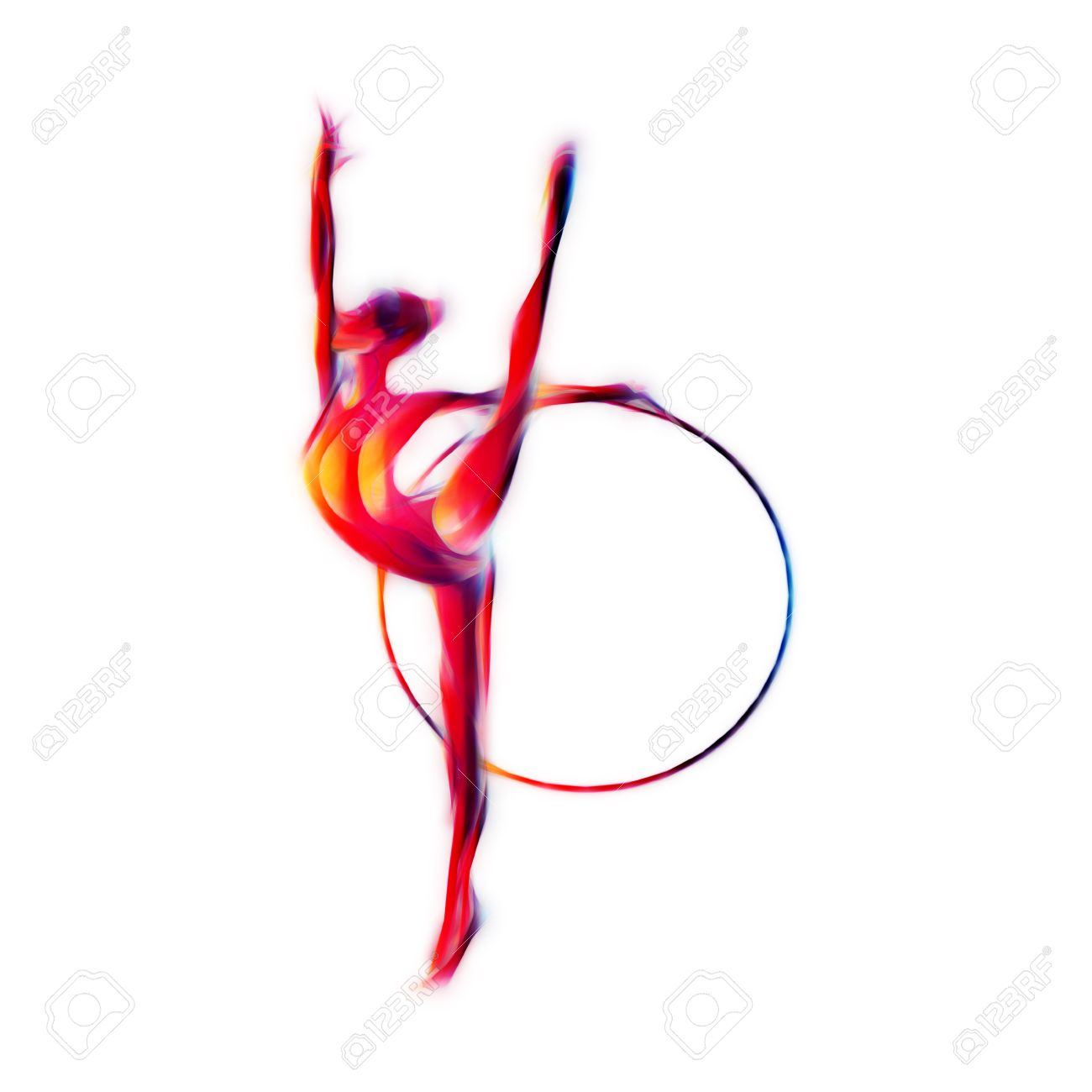 Rhythmic Gymnastics With Hoop Color Silhouette Isolated On White ...
