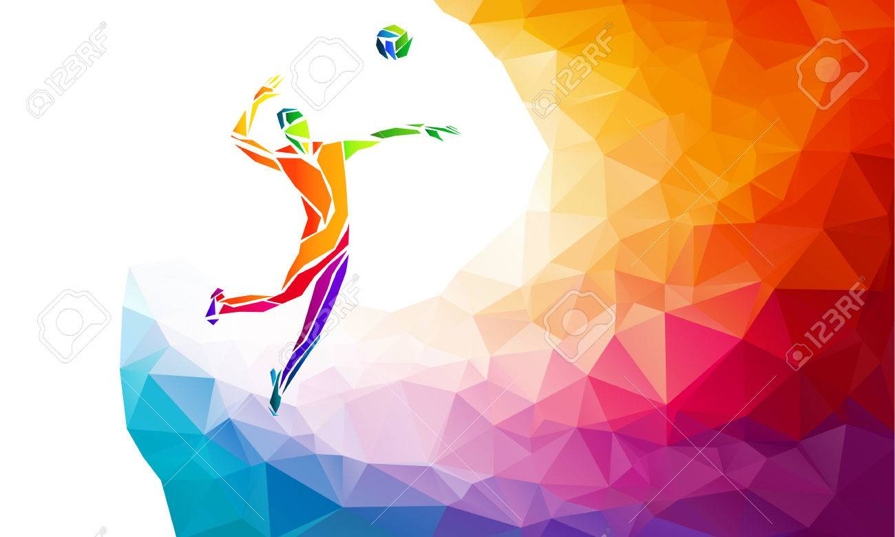 Creative silhouette of volleyball player receiving a ball. Beach sport, colorful vector illustration with background or banner template in trendy abstract colorful polygon style and rainbow back - 61450155