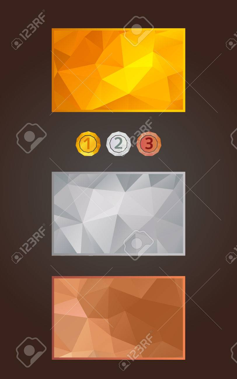Gold Silver And Bronze Cards Or Backgrounds And Medals Set In