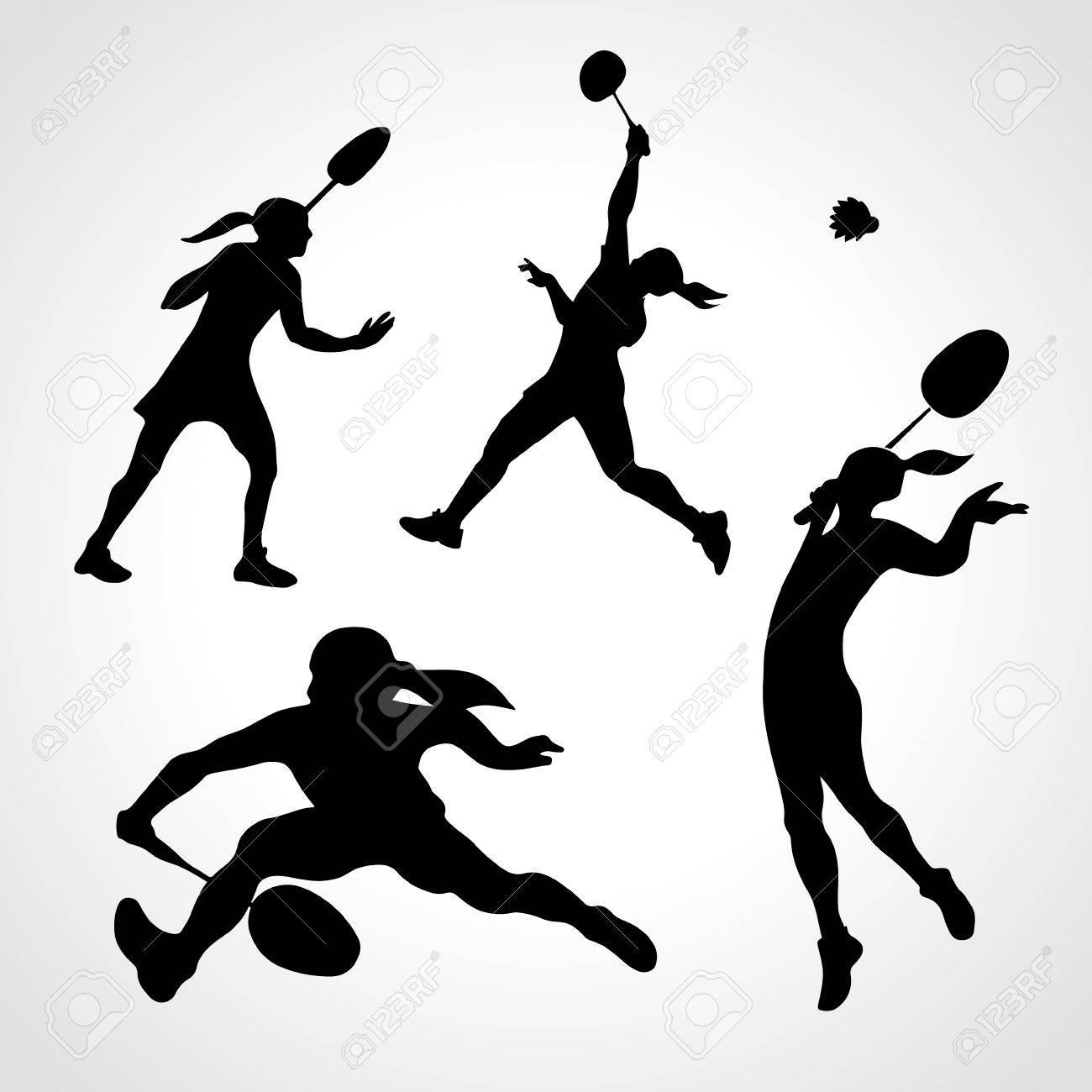女子プロのバドミントン選手の 4 ベクトル シルエット ベクトル図のイラスト素材 ベクタ Image