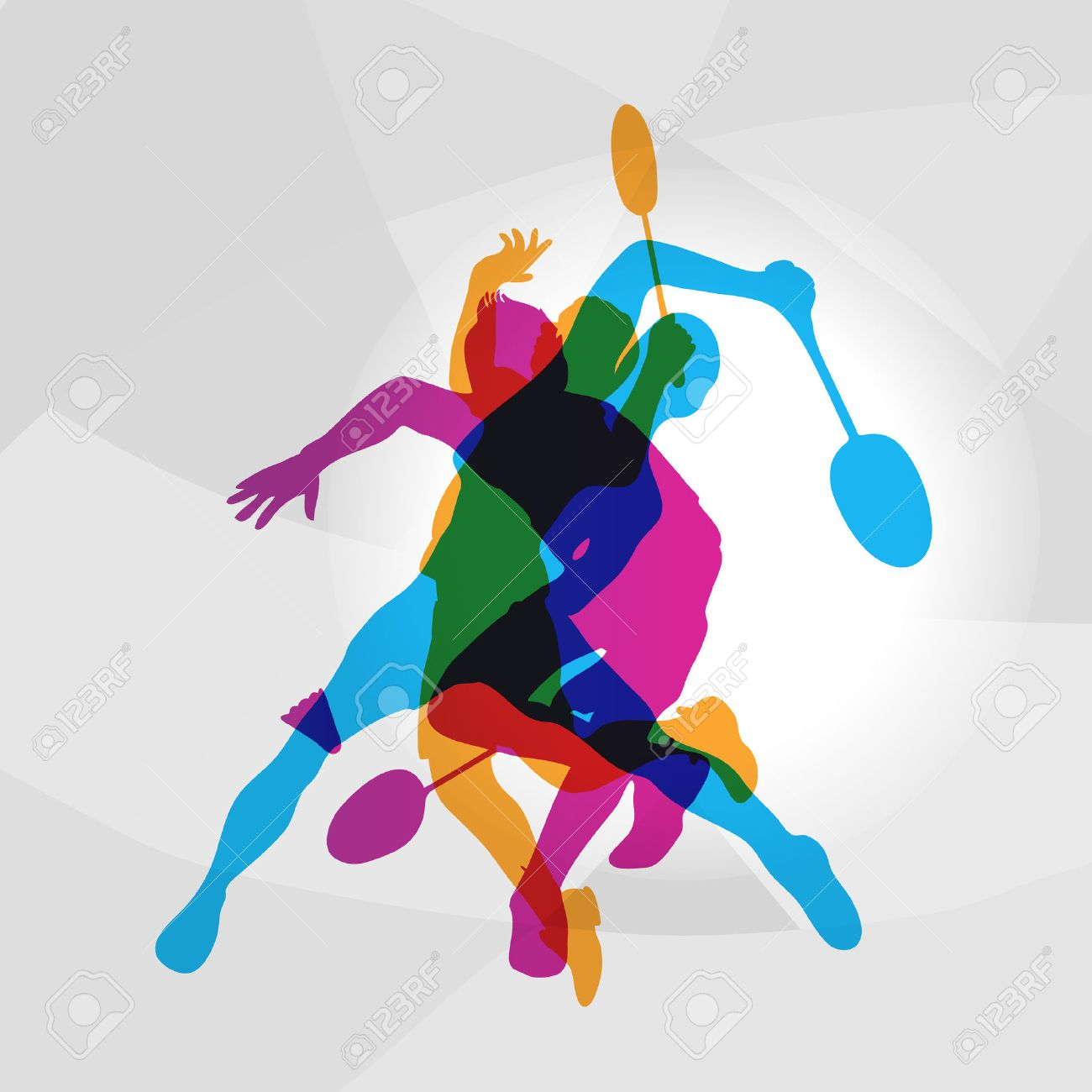 Modern Badminton Players In Action Logo Color Silhouettes Of