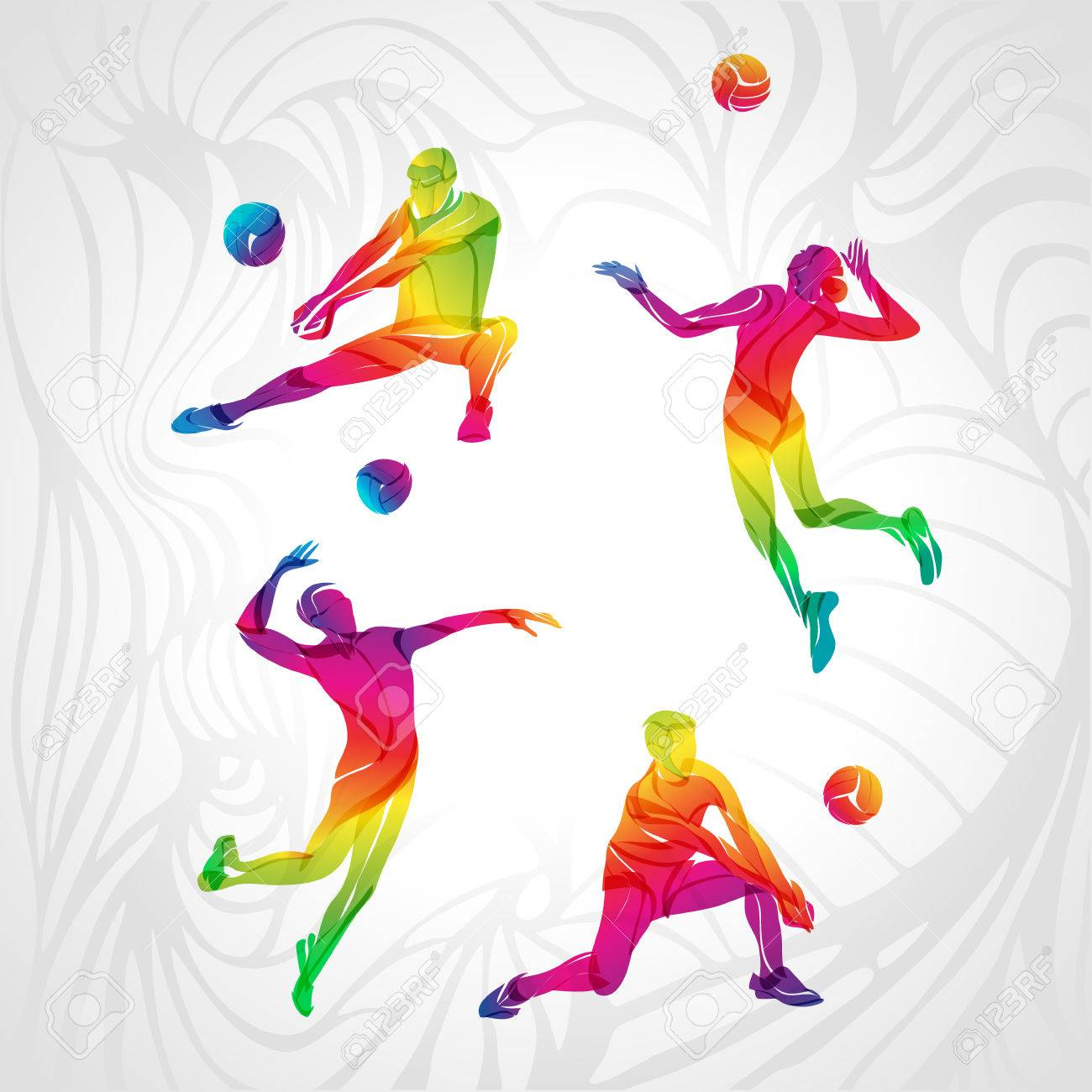 volleyball players set, people silhouettes, summer game activity. Spectrum color silhouettes collection. - 63906588