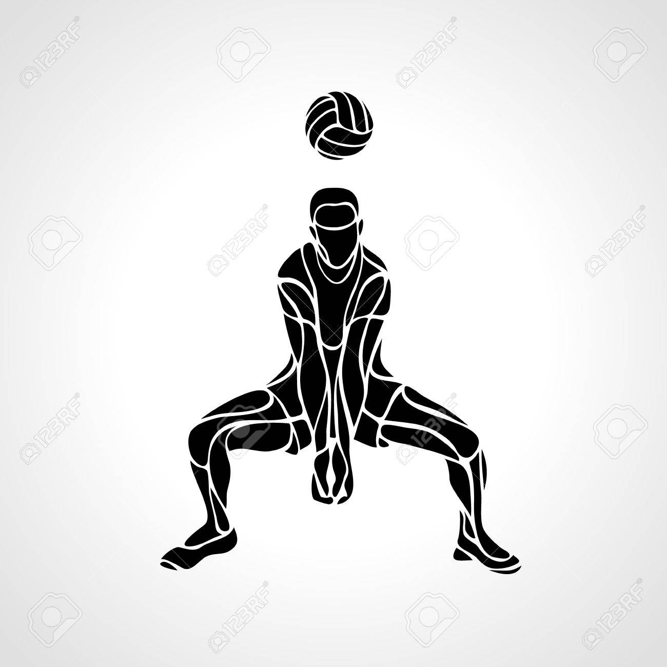 Volleyball Player Receiving Feed Silhouette Of A Abstract Volleyball Royalty Free Cliparts Vectors And Stock Illustration Image 63906703