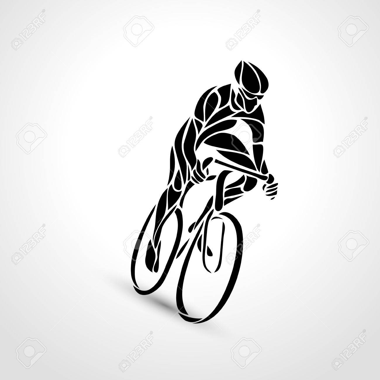 Abstract creative silhouette of bicyclist. Black cyclist wave style logo. Front view. Vector illustration of bike - 67829241