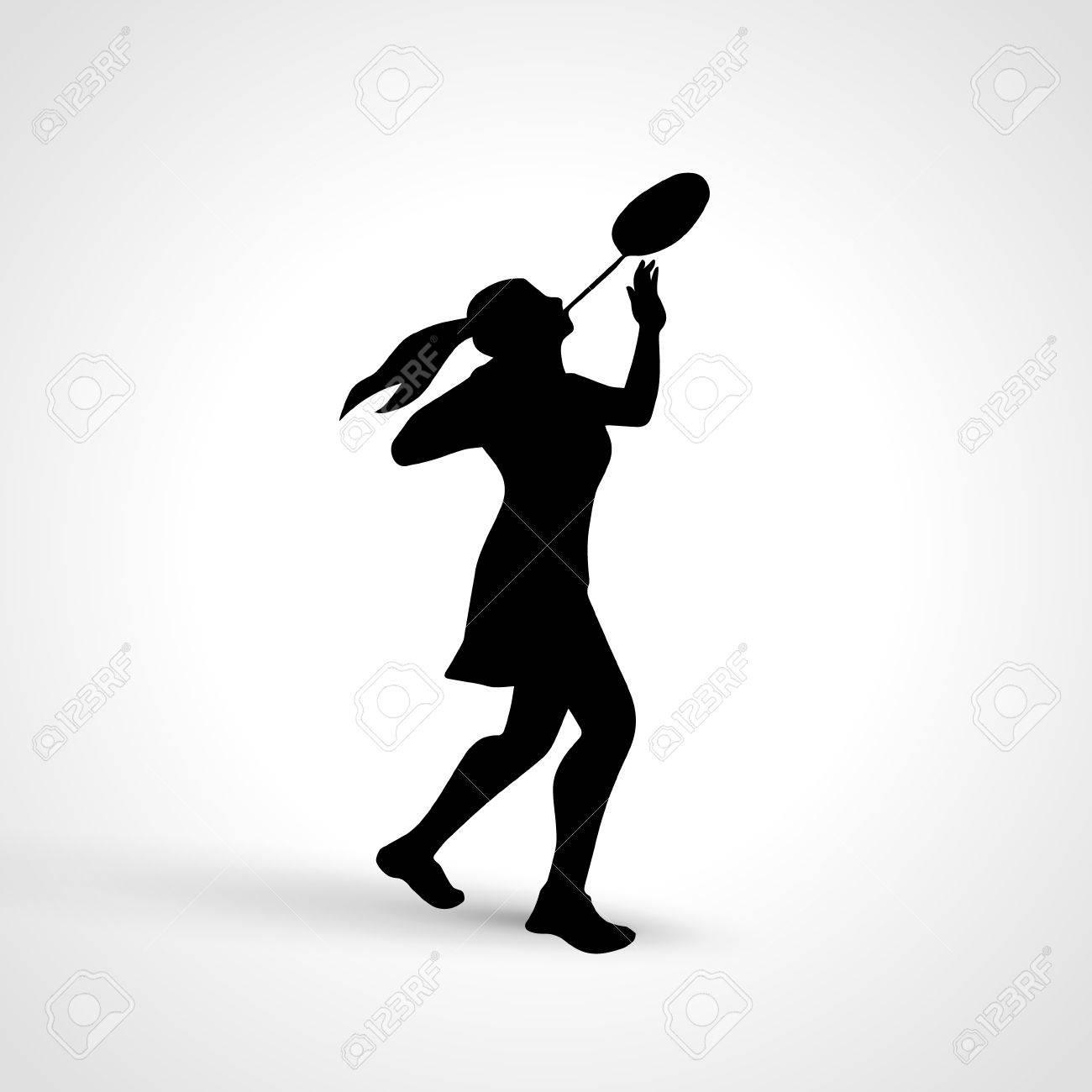 女子バドミントン選手の創造的なシルエットのイラスト素材 ベクタ Image