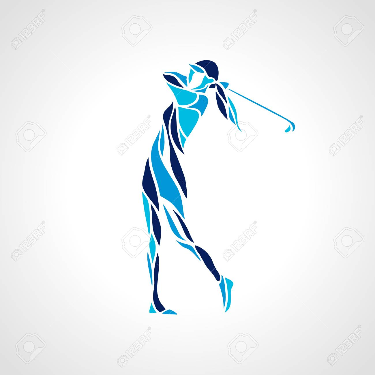 Silhouette of woman golf player in blue colors. Vector eps10. - 88754745