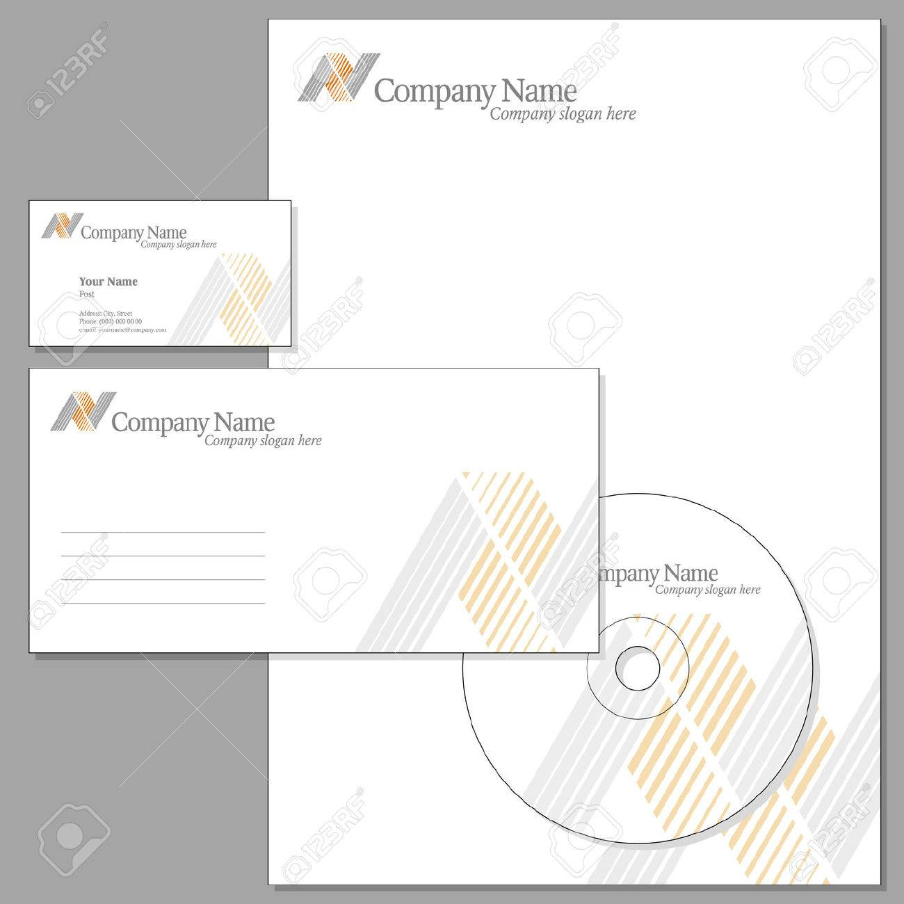 Vector Set of Corporate identity (Envelope, Visiting card, Headed note-paper, CD) Stock Vector - 5703561
